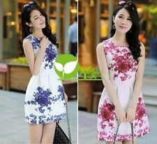 Womens Retro White Blue Sleeveless Porcelain Floral Print Flare Mini Dress dint