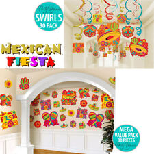 MEXICAN FIESTA PARTY SUPPLIES CUTOUT DECORATIONS OR HANGING SWIRL DECORATIONS