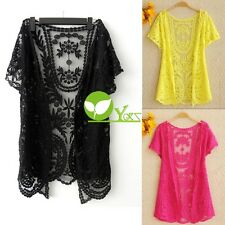 Women Hollow-Out Blouse Shirt Lace Embroidery Floral Crochet Cardigan New dint