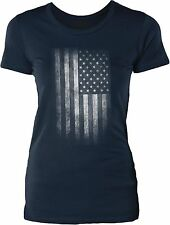 Faded American Flag Womens Cotton T-Shirt
