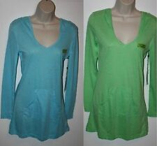 Earth Yoga Top Womens Long Sleeve V-Neck Hoodie Organic Cotton Blue OR Green NEW