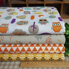 Orange Owl Tree 4 Assorted Pre-Cut Linen Quilt Fabric Fat Quarter or By the Yard