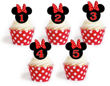 Minnie Mouse ears red bow 1st 2nd 3rd birthday edible Cupcake cake Toppers