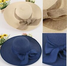 New Women's Crushable Packable Wide Brim Straw Floppy Hat SPF50 Protection