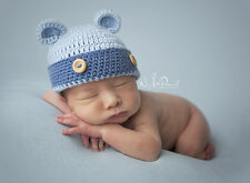 Hand Crochet Knitted Baby Hat Teddy Bear Bamboo Photography/Photo Prop Prem - 6M