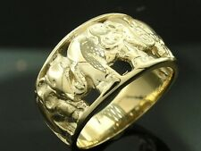 R018 Genuine 9K or 18K Solid Gold WIDE & Heavy Lucky Elephant Ring in your size