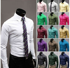 Hot!New Mens Luxury Stylish Casual Dress Slim Fit Shirts Shirt 17Colours 5Sizes