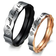 Fashion lace Crystal Titanium Steel Promise Ring Couple Wedding Bands Lover gift