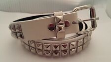 """BELT - WHITE -2- ROW-SILVER PYRAMID STUDDED GENUINE LEATHER - """"S,L,XL""""  - NEW"""