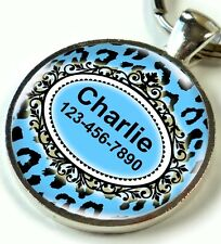 Animal Print Pet ID Tags Custom Personalized for Dogs and Cats Blue Leopard