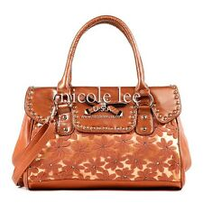 Authentic Nicole Lee Avelina Handbag Flower Rhinestone Satchel Purse Orange Bags