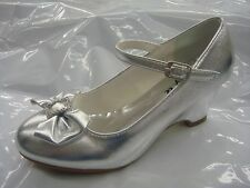 Girls Silver Dressy Shoes/ Communion Shoes/ Wedge Heels/ Size 13 Toddler-5 Youth