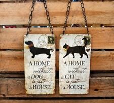 Shabby Chic Wooden Hanging A Home Without A Cat Dog Is Just A House Wall Sign