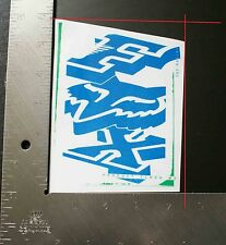 Spring 2014 Fox Racing Floater Sticker Blue Green Clear Background 5.75 X 4.375
