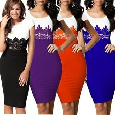 Womens Celeb Lace Contrast Evening Wedding Pencil Bodycon Midi Dresses Size 8-18