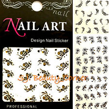 Nail Art - Black White Flowers - Gold Glitter - Water Transfer Sticker Decals N