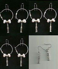 Big Ben Fish Hook / Hoop Earring with Charm & Crystal Beads