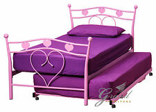 Alice Pink Metal Bed Frame Kids Princess Girls 3FT Single Bedstead