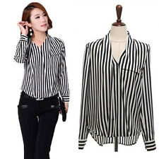 Lady Black White Strip Chiffon Blouse Size S-3XL V-neck Women Casual Full Shirt