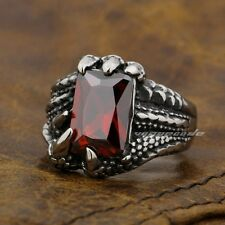 Dragon Claw Ruby CZ 316L Stainless Steel Mens Biker Ring 2S038A