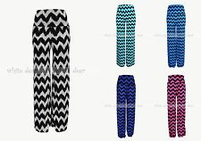 Women's Chevron Zigzag Stretchy Palazzo Foldover Pants Wide Leg High Waist