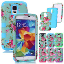 Hybrid Impact Rugged Flowers Dual Layer Matte Case Cover for Samsung Galaxy S5