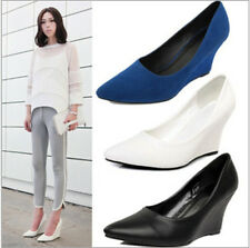 Womens Europe Pointed Toe Wedge Heel Pumps Slip On Court Dating Shopping Shoes