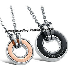 UNIQUE LOVE CIRCLE COUPLE NECKLACE ROMANTIC XMAS GIFT FOR HER WOMEN WIFE HIM MEN