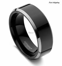8Mm Tungsten black polished sliver Beveled ring Engagement Men Wedding Band Ring