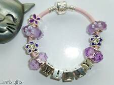personalised charm bracelet childs girls lilac blue pink green & gift pouch