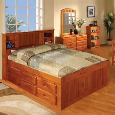 Discovery World Furniture Honey Bookcase Captains Bed Full