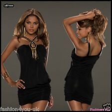 Womens Mini Dress Sexy Party Fashion Ladies Black Dress ONE SIZE 6,8,10 UK
