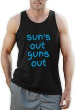 Suns Out Guns Out Singlet Vest Summer Jump Lads Funny  Top Tank Gym Workout