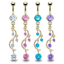 Real Gold Plated Navel Belly Ring with Round CZ Vine Dangle Sexy Body Jewellery