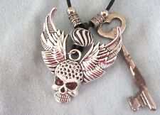 ANTIQUE SKELETON KEY, SKULL w/WINGS +/- RED EYES GLASS Accents on BLACK CORD
