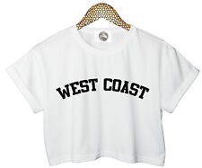 WEST COAST CROP TOP T SHIRT MILEY CYRUS TWERK CANT STOP TUMBLR HIPSTER WOMENS *