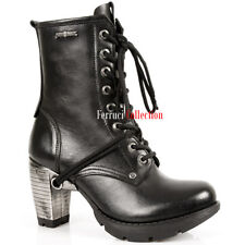 NEWROCK New Rock TR001 Black Leather Lace Up Boots