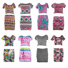 NEW LADIES WOMENS ETHIC BODYCON TOWIE DRESS CROP TOP SKIRT COMBINATION SET 8-14