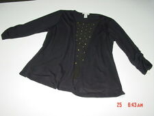 NWT Womens Top Blouse Black Embellished Janeric Soft Comfortable Layered Classy