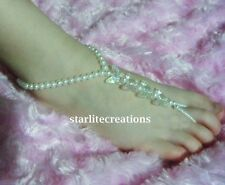 KIDS Barefoot Sandals IVORY  BUTTERFLY  Beach bridal Christening Naming Day GIRL