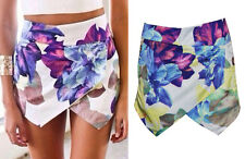 HOT WOMEN LOTUS FLOWER SKORTS ASYMMETRIC TIERED SHORTS WITH INVISIBLE ZIPPER deb