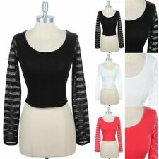 Solid Striped Knit Long Sleeve Scoop Neck Cropped Top Casual Cotton Span S M L