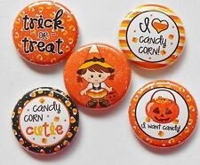 "Candy Corn Cutie Halloween Flatback - Pin Back Buttons 1"" Embellishments"