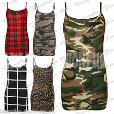 Ladies Womens Army Grey Camouflage Skull Rose Tartan Cami Vest Tank Top SM ML