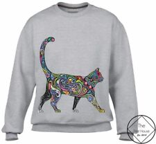 Floral Print Cat #1 Sweater Womens Men Hipster Tumblr Retro Vintage Art Meow Top
