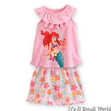 Disney Store Ariel Nightshirt and Shorts Sleepwear Set for Girls Pajama 3 4 NWT