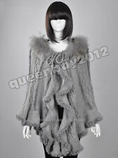100% Real Genuine Knitted Rabbit Fur Poncho Cape Sweater Raccoon Fur Trim Jacket