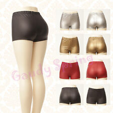 NEW Silver PU Faux Leather Club Dance Jersey Derby Roller Stretch Booty Shorts