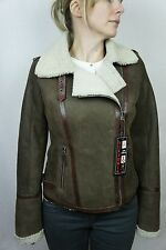 Women Tobacco Brown Shearling Leather Sheepskin Pilot Jacket Coat XS-5XL NWT