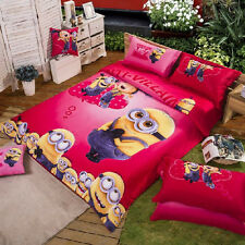 New 2014 Despicable Me Gru Minions Bedding Set 4pc Queen King Pink Size RARE